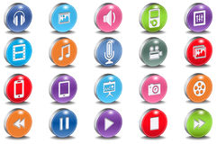 Vector 3d Oval Multimedia Bevel Shiny Icons Stock Images