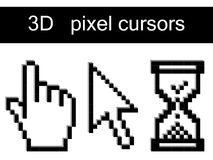 Vector 3d pixel cursors. Collection of 3d pixel cursors Royalty Free Stock Photo
