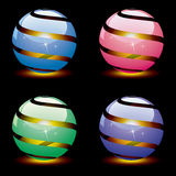 Vector 3d shiny globes with light inside. eps 10. Vector design of 3d shiny globes with burning light inside. eps 10 Stock Image