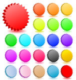 Blank star button set vector icon web buttons tag tags label sticker 3D shape design banner colored red green yellow blue orange. 3D vector star badges with Stock Photo