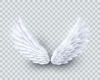 Free Vector 3d White Realistic Layered Paper Cut Angel Wings Stock Photo - 133432260