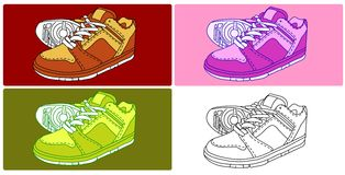 Vector - 4 Shoes Royalty Free Stock Images