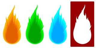 Vector - 4 types of Fire. 4 types of fire stock illustration
