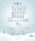 Vector иллюстрация рождества с типографским дизайном на предпосылке снежинок Стоковая Фотография
