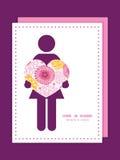 Vector розовая женщина цветков поля в силуэте влюбленности Стоковые Изображения