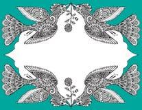 Vector шаблон поздравительной открытки с красивой птицами нарисованными рукой богато украшенными Стоковые Изображения