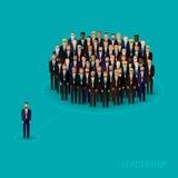 Vector иллюстрация руководителя и команды толпа бизнесменов или политиков нося костюмы и связи Принципиальная схема водительства Стоковые Изображения