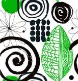 Vector картина чертежа с декоративными элементами нарисованными чернилами абстрактное grunge предпосылки Стоковое Изображение RF