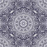 Vector безшовная текстура с флористической мандалой в индийском стиле Стоковое Изображение