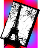 Vector. Modern post card of the eiffel tower Stock Photo