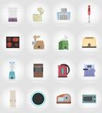 Бытовые приборы для значков кухни плоских vector иллюстрация Стоковое Изображение