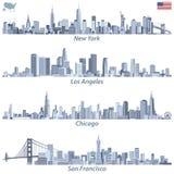 vector иллюстрации горизонтов города Соединенных Штатов в подкрасках голубой цветовой палитры с картой и флаге Соединенных Штатов иллюстрация вектора