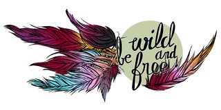 Vector иллюстрация руки нарисованные красочные пер с цитатой одичалы и свободны стоковые фото