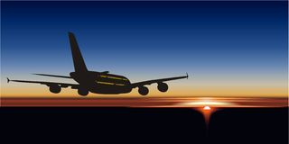 Vector A380 at sunset. Vector illustration passenger aircraft A380 Airbus at sunrise. Available CDR-9 vector format Royalty Free Stock Photo