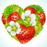 Vector aardbeien in de vorm van hart Stock Afbeelding