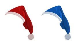 Vector Abbildung der roten und blauen Feiertagshüte Stockbilder