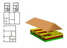 Vector Abbildung die Farbenzeichnung des Hauses Stockfoto