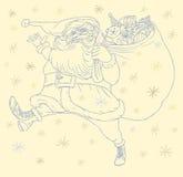 Vector Abbildung von Weihnachtsmann mit Beutel von vor Stockfotografie