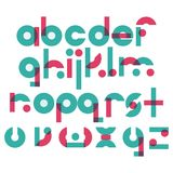 Vector abc letters sequence from A to Z in geometric style. Blue and pink elements based on circle and rectangle shapes. Lowercase. English font Royalty Free Stock Photos