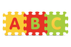 Vector ABC written with alphabet puzzle Royalty Free Stock Photo
