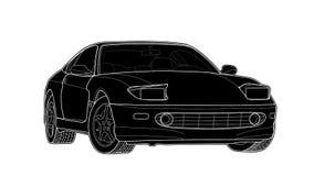 Vector abgehobenen Betrag eines flachen Sportwagens mit schwarzen Linien lizenzfreie stockfotos