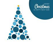 Vector absract christmas tree card. Template made from blue circles Royalty Free Stock Photos
