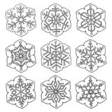 Set of vector abstract six-pointed snowflakes royalty free stock image