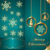 Vector Abstart cyan blue Christmas Invitation Card Royalty Free Stock Image