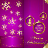 Vector Abstart pink Christmas Invitation Card with Royalty Free Stock Image