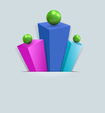 Vector, abstract 3d background. With multi-colored prisms and green balls royalty free illustration