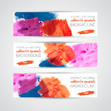Vector Abstract acrylic painted brush banner. On white background royalty free illustration