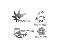 Vector abstract arrow, round, square, star, swirl shape logo icons set for corporate and business identity. Vector abstract arrow, flower, round, square, star Royalty Free Stock Image