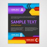 Vector Abstract Arrows Geometric Poster Template. Dark background Stock Illustration