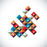 Vector abstract art symbol made with squares, modern style graph. Ic element. Asymmetric figure, created from squares and blocks can be used in corporate design stock illustration