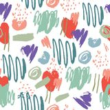 Vector abstract artistiek naadloos patroon Slagen, potten, pastelkleur, borstel Gebruik voor verpakking, stof royalty-vrije illustratie
