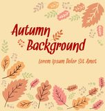 Vector abstract autumn leaf banner background design with text space. And tagline in orange pink Stock Photography