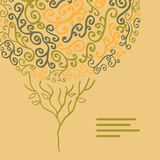 Vector abstract autumn  tree illustration made of swirls for you. R design on a light beige background Royalty Free Stock Image