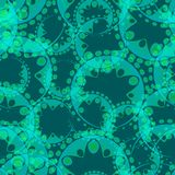 Vector abstract azure seamless pattern of gears and flowers. For the design of fabrics and paper in a grassy style Royalty Free Illustration