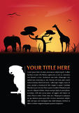Vector abstract background with african animals. Vector abstract background for poster or brochure with african animals silhouettes and place for text Vector Illustration
