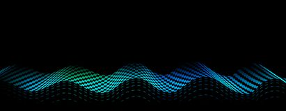 Vector abstract background with blue wave on black background. E. Lement for design, template, banner stock illustration