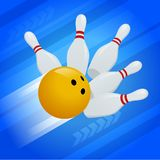 Vector abstract background Bowling Pins and ball. The concept of games, entertainment, hobbies and leisure club. Vector abstract background Bowling Pins and stock illustration