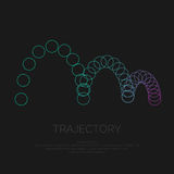 Vector abstract background with circles, particle and the trajectory. Stock Photography