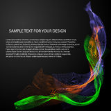 Vector Abstract background with color waves on black Stock Photos