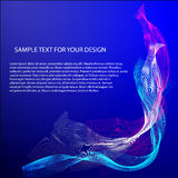 Vector Abstract background with color waves on blue.  Stock Photo