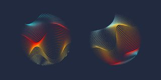 Vector abstract background with a colored dynamic waves, line and particles. Stock Image