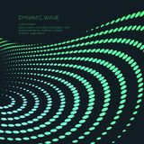 Vector abstract background with a colored dynamic waves, line and particles. Stock Photography