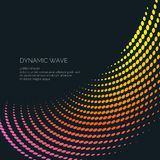 Vector abstract background with a colored dynamic waves, line and particles. Stock Images