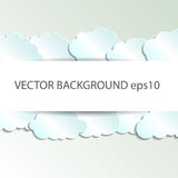 Vector abstract background composed of white paper clouds over blue. Eps10 stock illustration