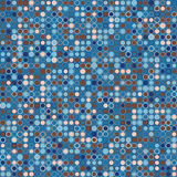 Vector abstract background. Consists of geometric elements arranged on background in blue. The elements have round shape and different color. Colorful mosaic Stock Image
