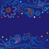 Vector abstract background with curly lines, dotted swirls, orange and white snowflakes on the dark blue background. Royalty Free Stock Photo